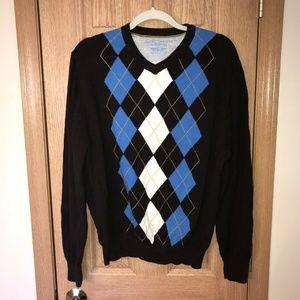 Men's American Eagle V-Neck Argyle L/S Sweater